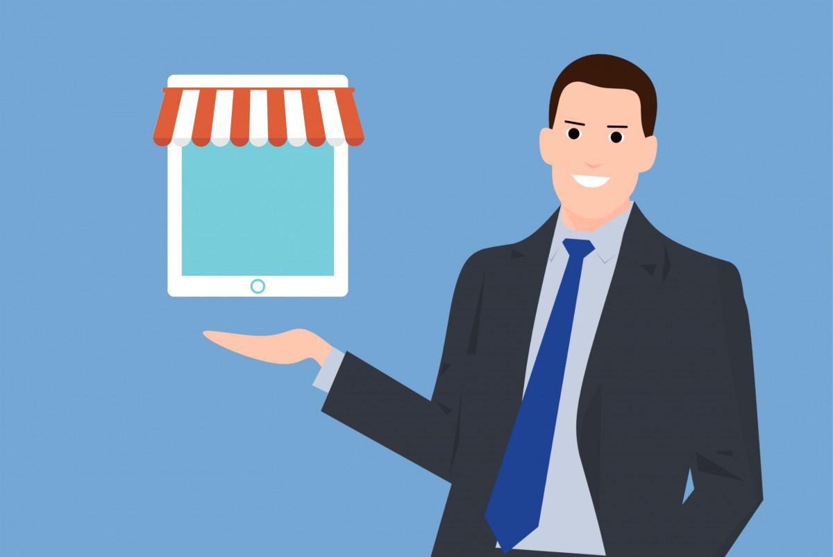 Infographie représentant un homme devant sa boutique