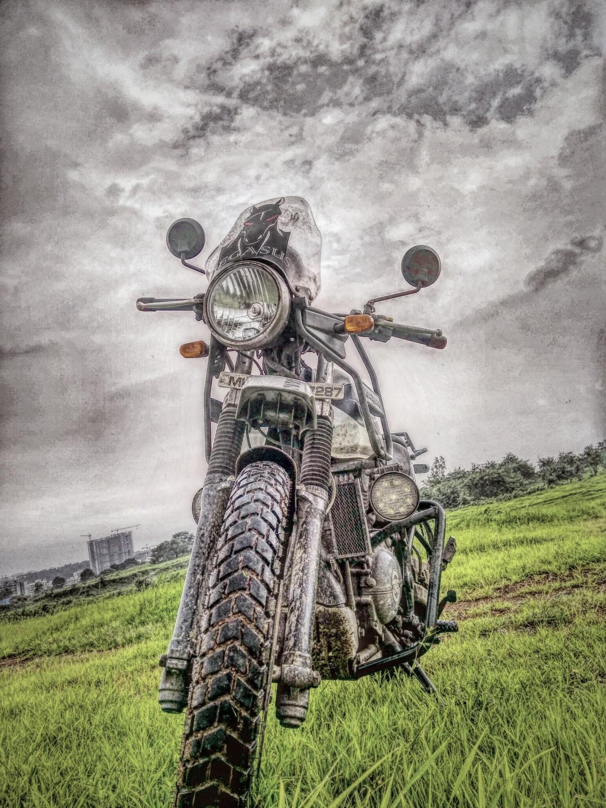 Moto G Plus >> Free Images : royal, himalayan, motorbike, clouds, green, grass, bike, tour, motor vehicle ...