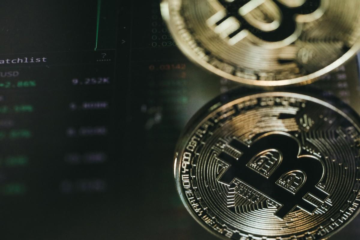 Bitcoin acuñar moneda dinero metal fotografía efectivo circulo marca emblema