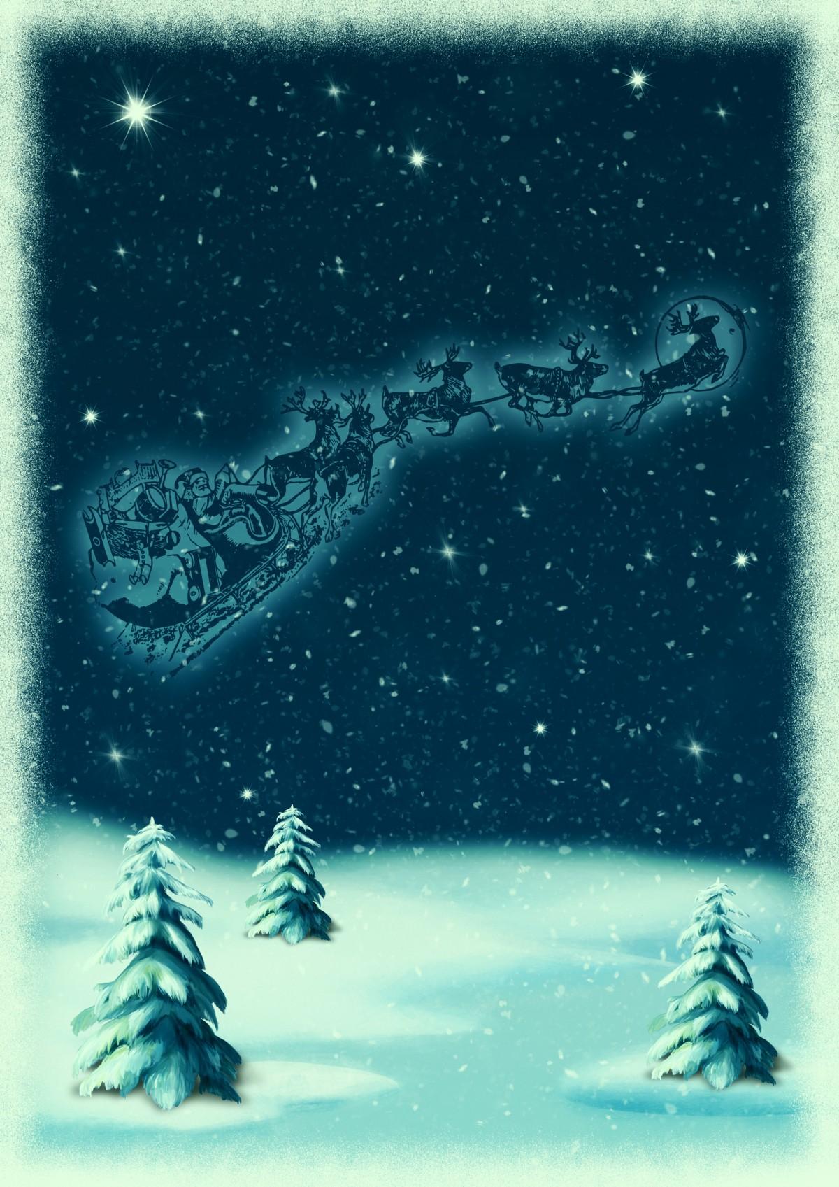 free images   christmas motive  snowy landscape  santa
