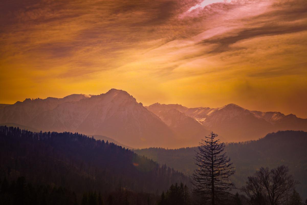 山 瞬間 旅行 日の出 自由 空 朝は赤い空 残光 雲 雰囲気 荒野 山脈 夜明け 朝 イブニング 日没 地平線 高地 国立公園 太陽光 木 夕暮れ 気象現象 丘 風景 マウント風景 リッジ コンピュータの壁紙