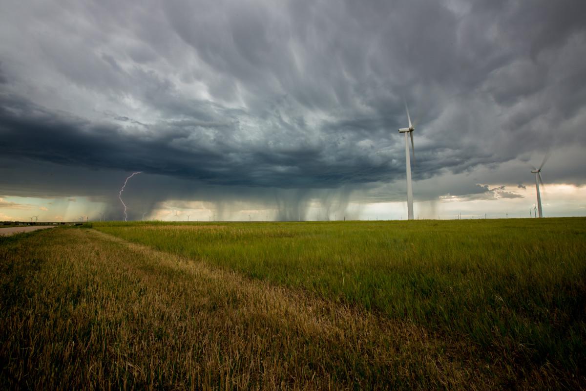 Free Images Lightning Windmills Wind Turbine Clouds