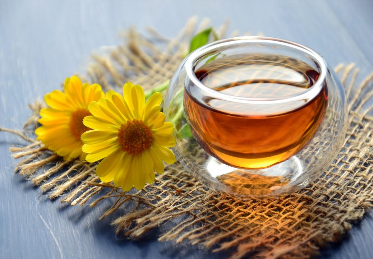 bylinkový čaj piť čaj horúco bylinný nechtík žlté kvety liečivé rastliny sklenený pohár terapia tradičná medicína užitočný vitamín alternatívne kvetina pohár flowering tea zátišie fotografovanie