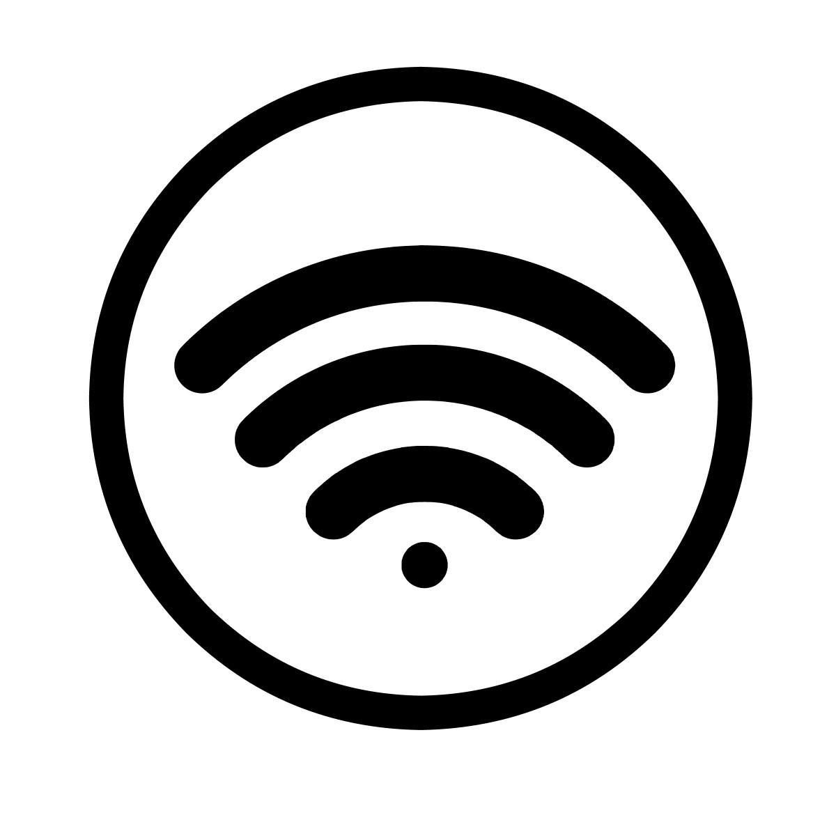 nirkabel koneksi Wifi sinyal icon Internet tanda jaringan jaringan router wi antena hotspot fi teknologi radio menghubungkan titik gelombang digital komunikasi tombol daerah transmisi global hitam dan putih lingkaran garis daerah fon simbol clip art grafis