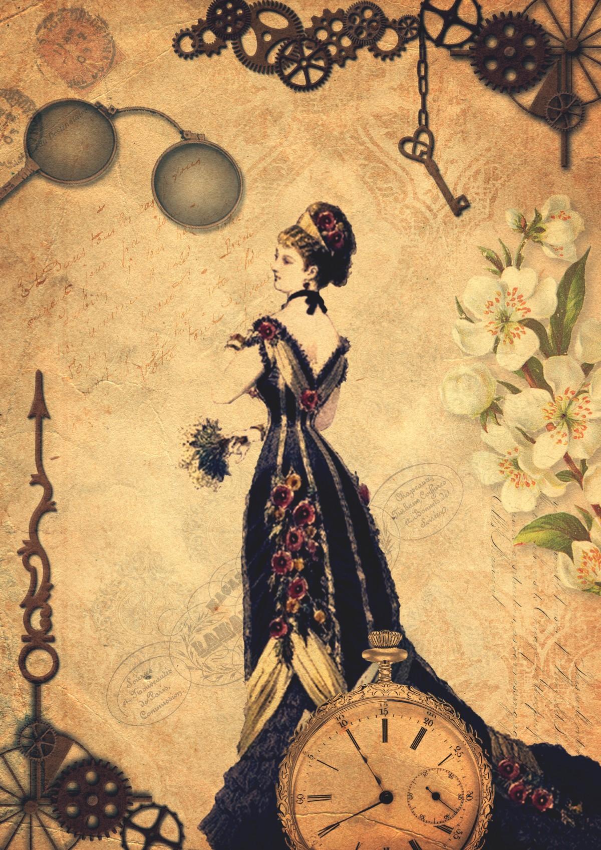 Free Images : background, chic, clock, clothing, damask ...