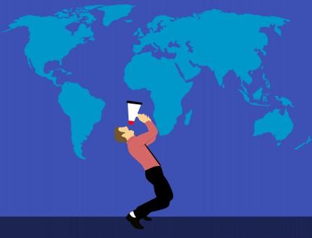 márketing,megáfono,hombre,mapa del mundo,trabajo,altoparlante