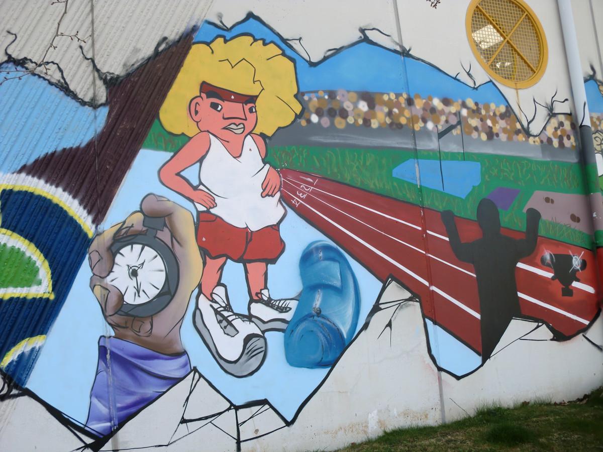 Banco De Imagens Grafite Espanha Desenho Animado Mural