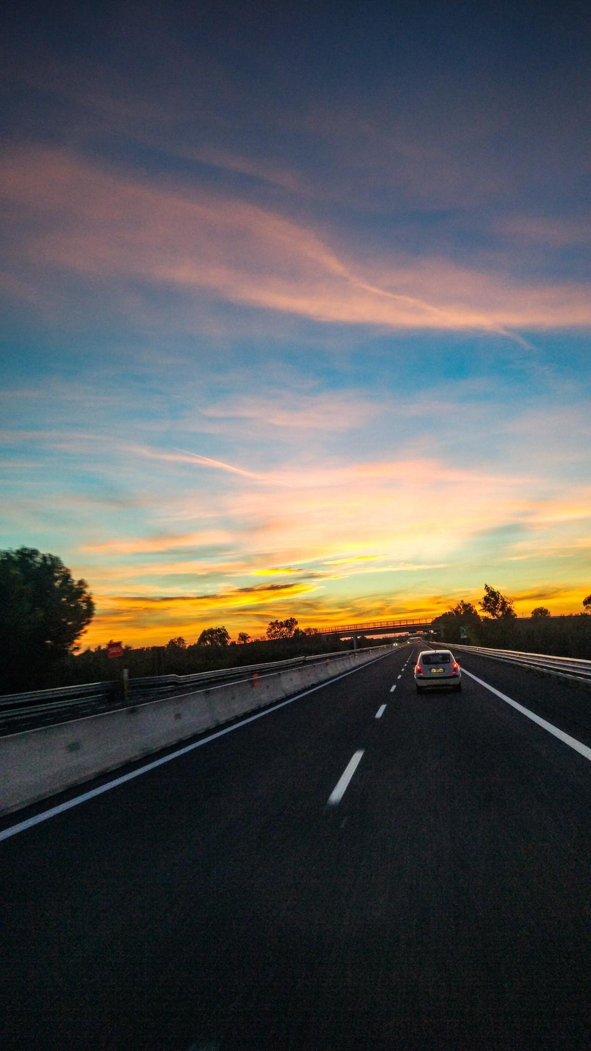 Gambar : jalan raya, awan, horison, Fajar, infrastruktur