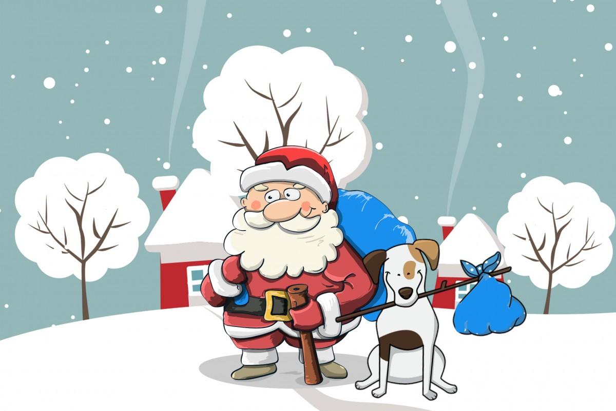 Kostenlose foto : Weihnachten, Santa, Hund, Schnee, Tasche, Feier ...