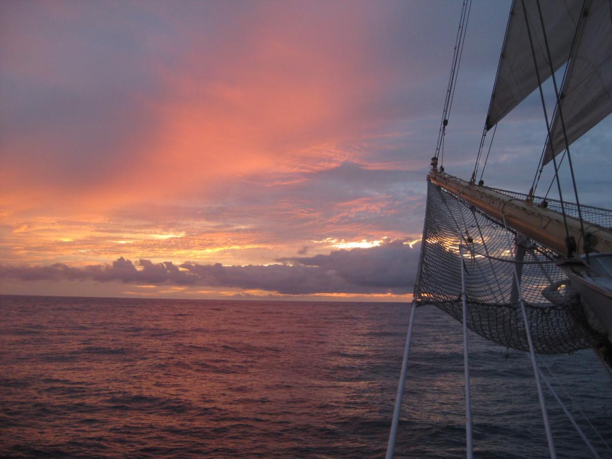 sea, ocean, horizon, sunset, boat, ship, evening, vehicle, mast, sailing, romantic, sailboat, clouds, tour, sail, pink sky, watercraft, sailing ship, afterglow, evening sky, open sea
