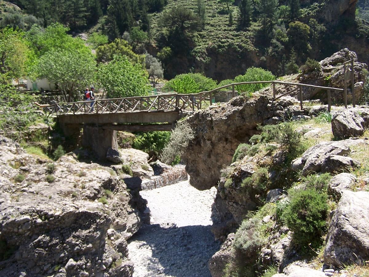 Rock, Berg, Weg, Brücke, Tal, Dorf, Ruinen, Schlucht, Kreta, Wadi, alte Geschichte, Geologisches Phänomen, Samaria schlucht