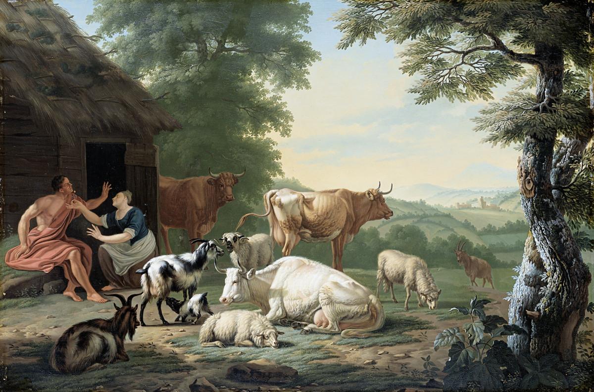 Gambar Pemandangan Kawanan Lukisan Gembala Seni Hewan
