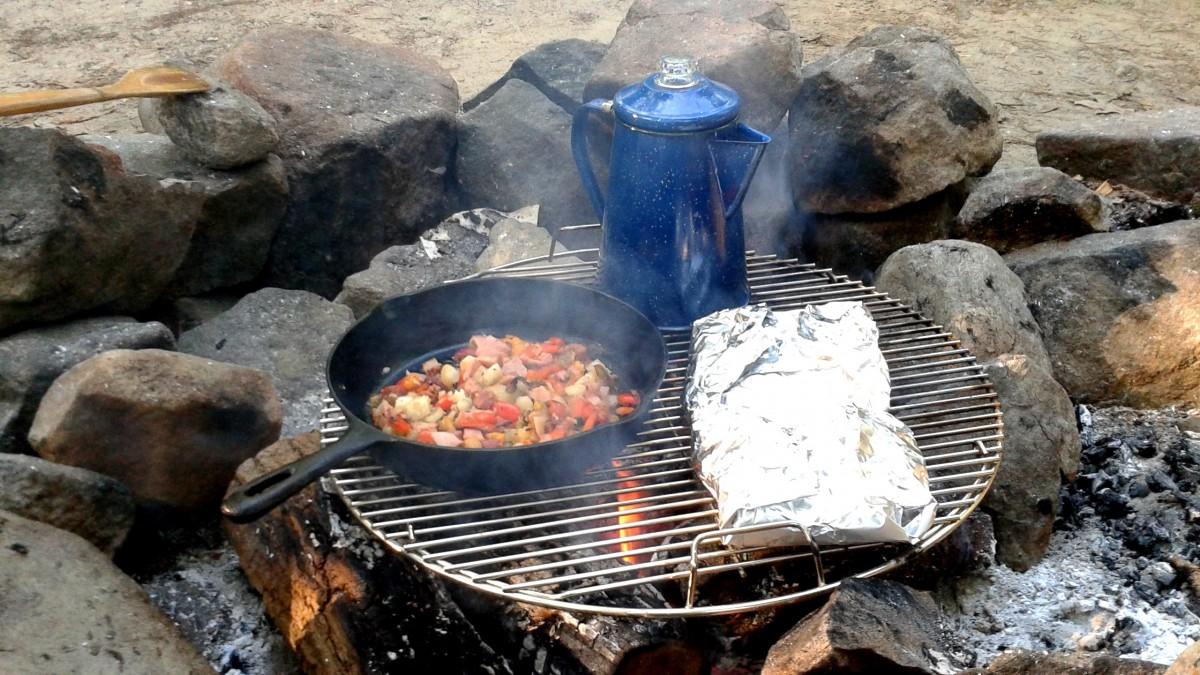 coffee dish food fire camping breakfast barbecue camp grilling barbecue grill outdoor grill