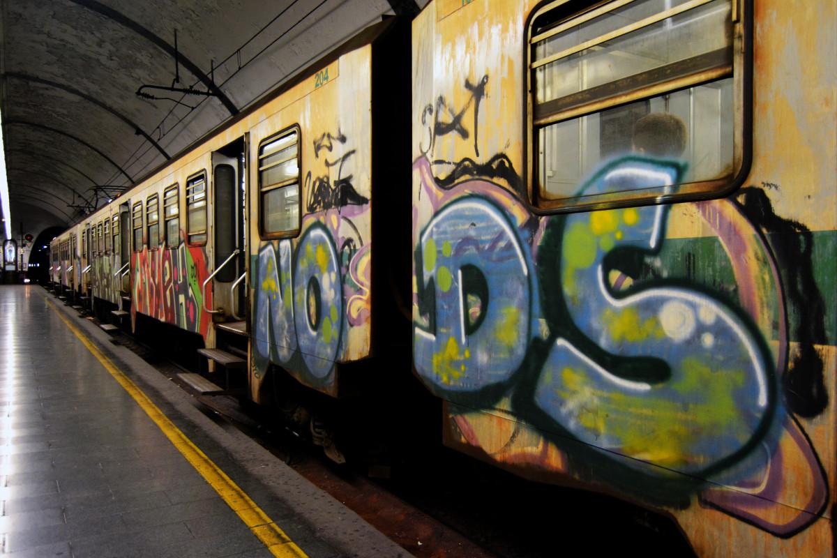 Fotograf Yuk Vagonu Tren Nakliye Arac Italya Duvar Yazisi