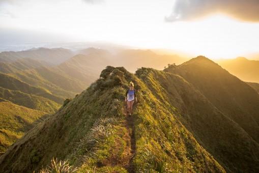 風景,自然,歩く,山,雲,女の子