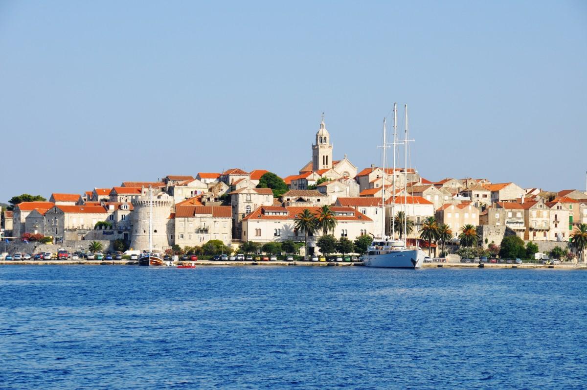 plage mer côte Dock ville ville Paysage urbain vacances méditerranéen véhicule baie port Marina Port Croatie recours cap Korcula