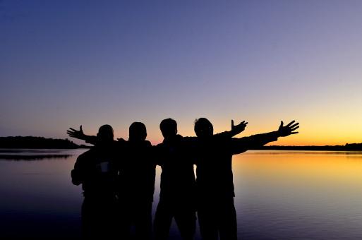 mar,horizonte,silueta,sol,amanecer,puesta de sol