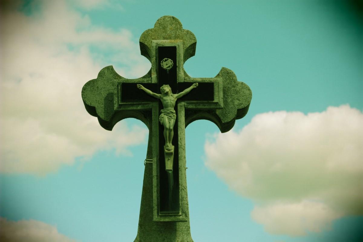 Free Images Sky Statue Green Symbol Blue Cross Christ Faith
