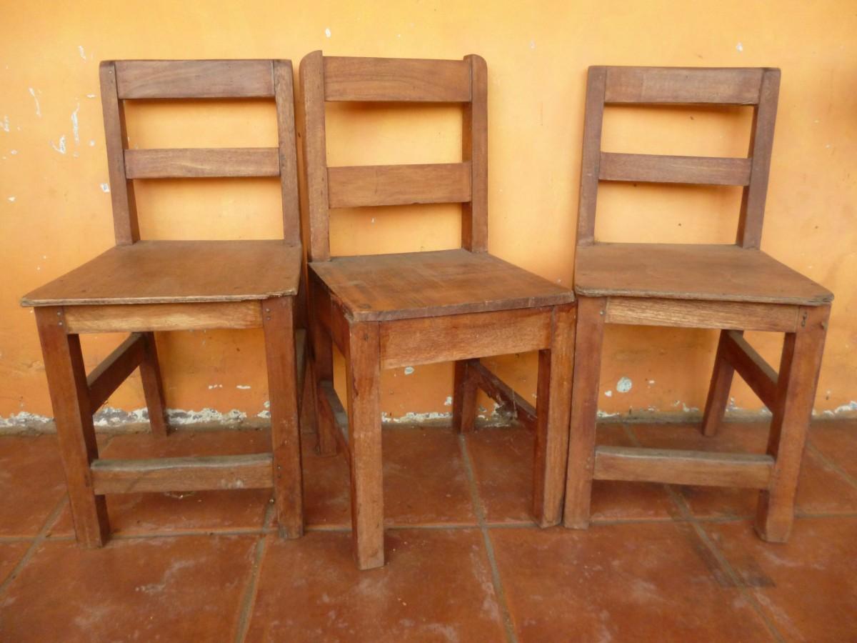 Desk, Table, Wood, Antique, Chair, Orange