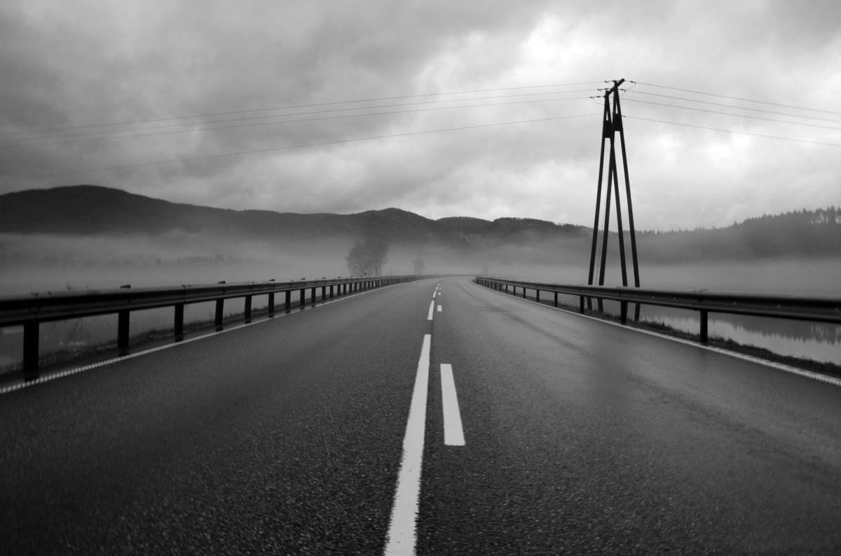 free images snow black and white fog road morning highway asphalt line weather lane. Black Bedroom Furniture Sets. Home Design Ideas