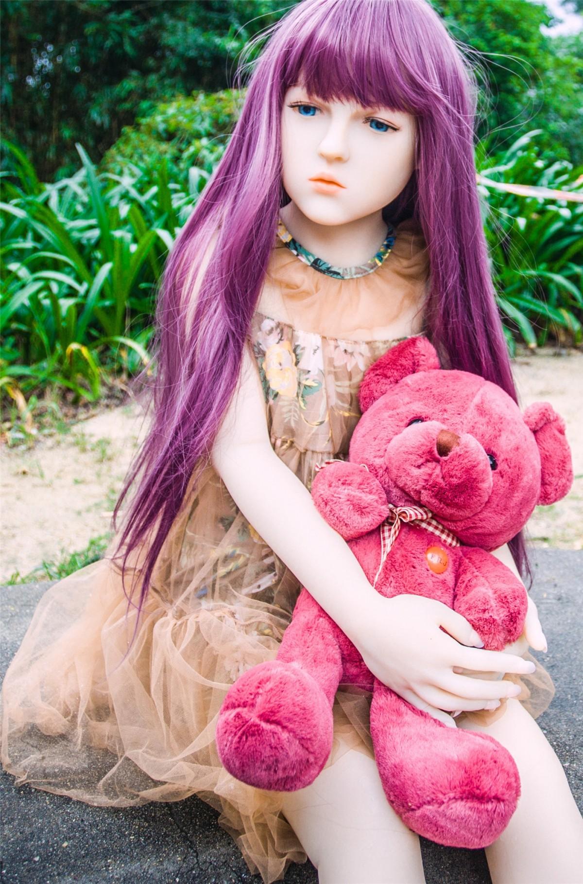 fille cheveux Vêtements rose jouet cheveux longs ours en peluche poupée peau blond costume caoutchouc Semble réel silicone réaliste Cheveux pourpre cheveux bruns