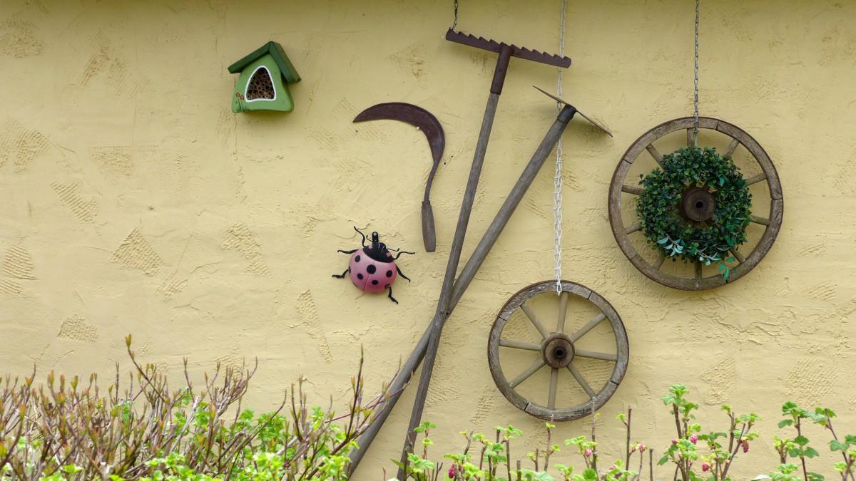 roue feuille fleur mur décoration vert rouge Couleur marron noir jaune nature morte art Chapeaux l'informatique Hôtel insecte Hauswand faux décoration murale outils de jardin Impression jardin