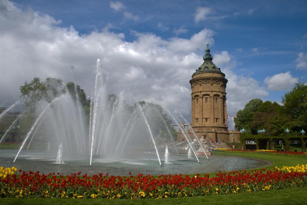 Blume, Monument, Bogen, Park, Wahrzeichen, Blumen, Wasserturm, Brunnen, Wasser-Funktion, Mannheim