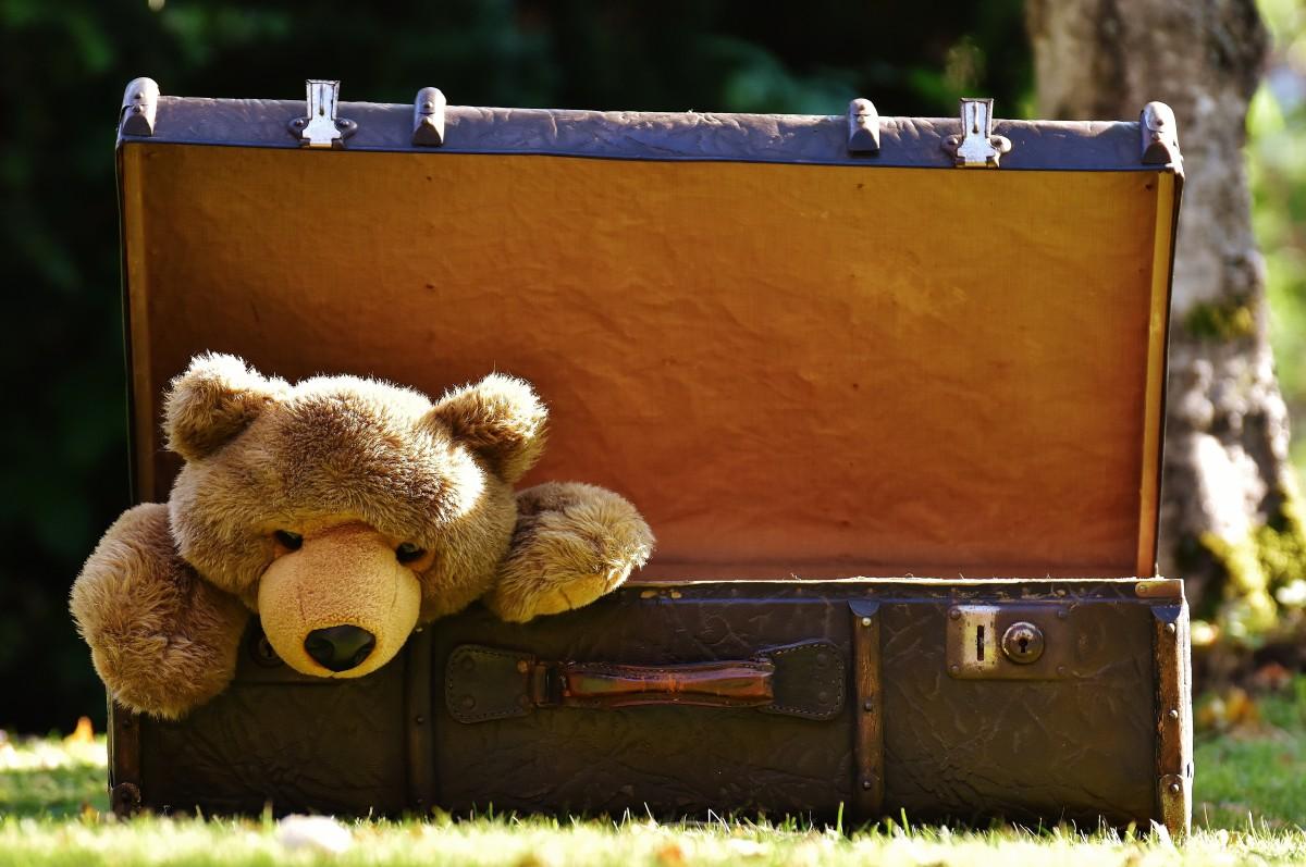 cuir antique Camelote jouet bagage ours en peluche jouets drôle Peluche curieuse Générations Nounours Jouet souple Vieille valise