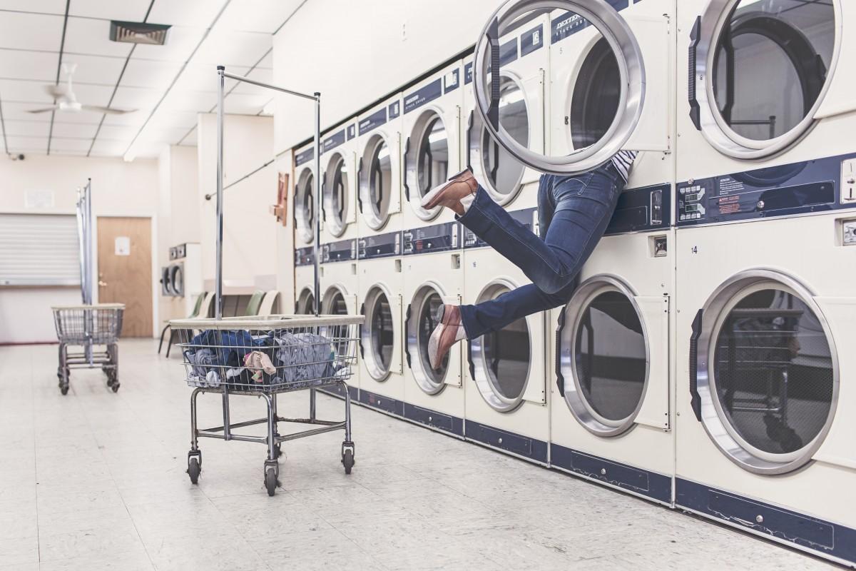 people, woman, laundry, laundromat, interior design, art, design, funny, accident, problem, household, washer, housewife, washing machines, laundry basket, laundry shop