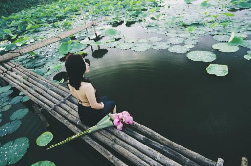 水,自然,女の子,女性,女性,池