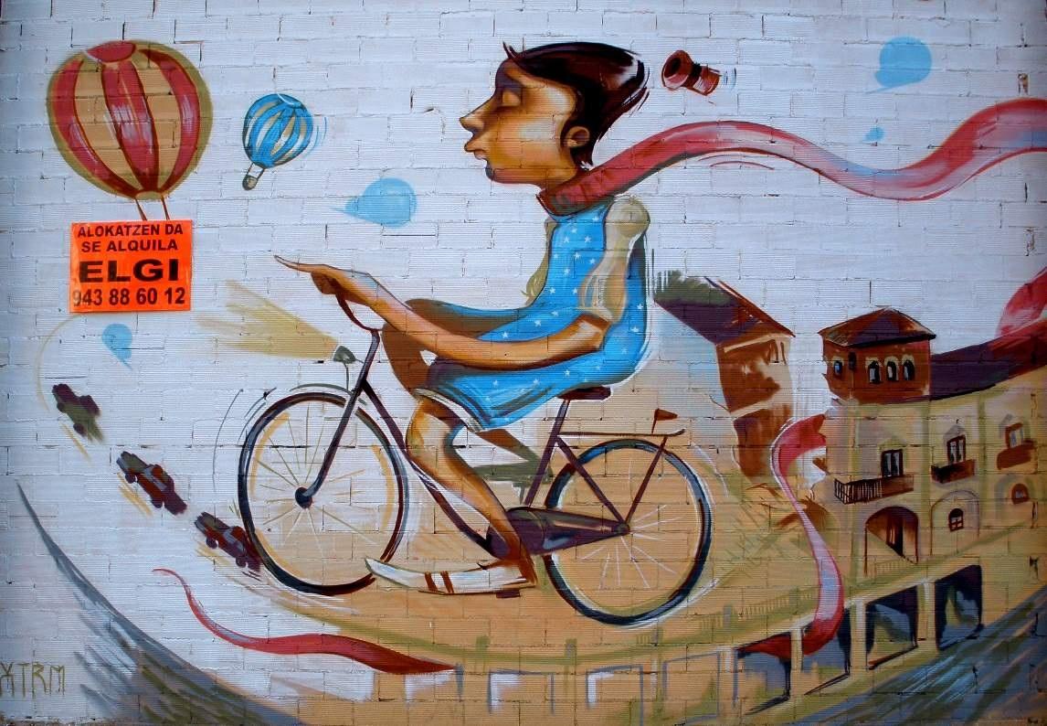 Fotograf Kisi Bisiklet Arac Sprey Renk Duvar Yazisi Resim
