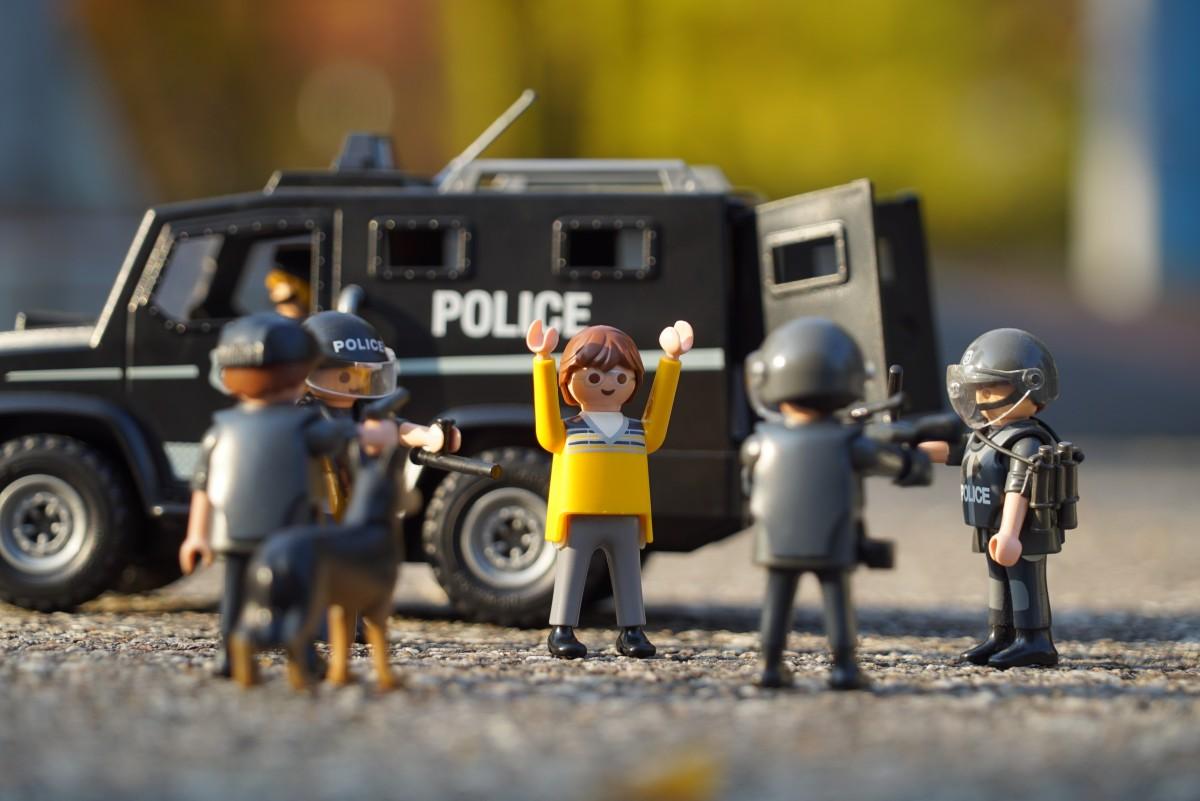 véhicule jouet Playmobil police écraser Rondelle Hoo raider Suppresseurs L'arrestation