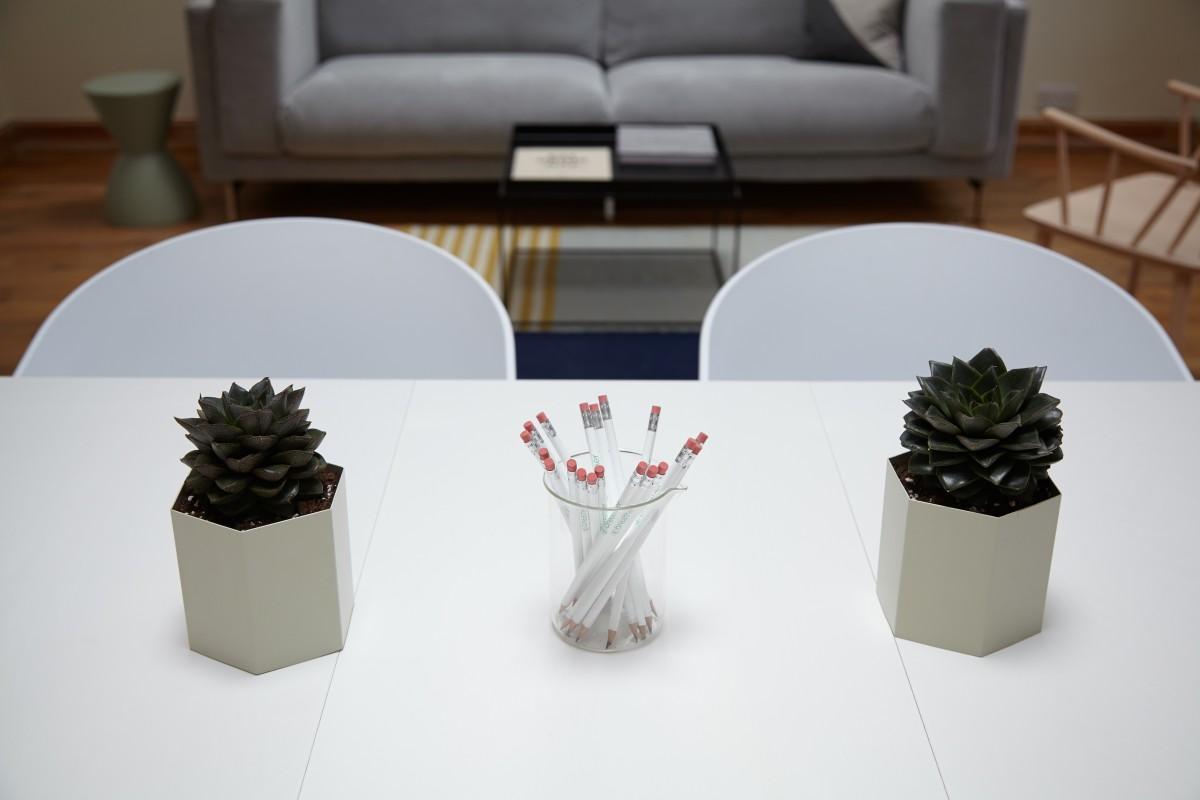 Table Pencil Plant White Chair Interior Ceramic Living Room Succulent  Furniture Lighting Design Flowerpot Shape