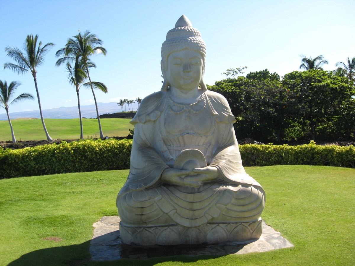 fontaine de jardin bouddha