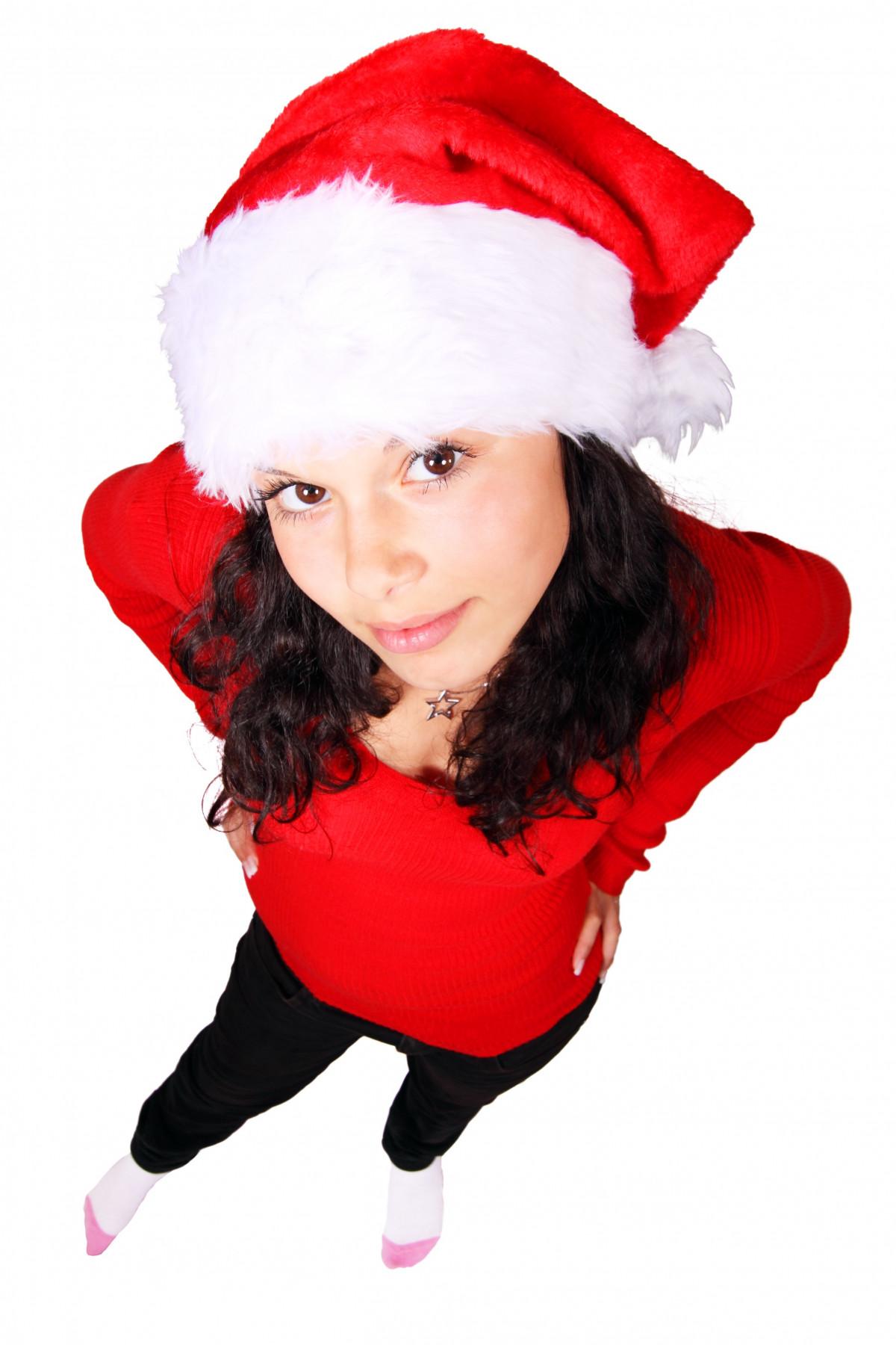 ľudia dievča žena biely Žena slávnosť výzdoba mladý červená človek klobúk  odevy slecna Vianoce usmievavý úsmev 358953dc18
