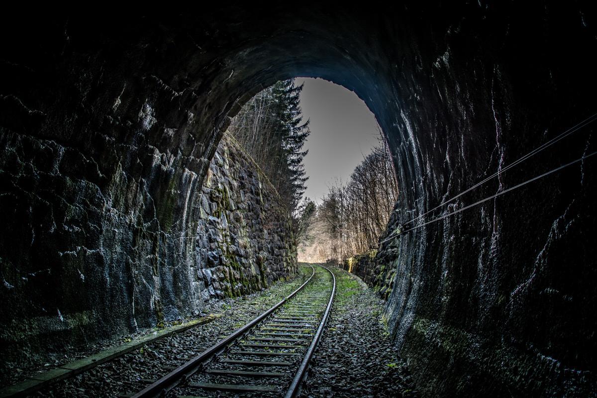 light track railway night tunnel transport darkness monochrome infrastructure symmetry railroad track rail traffic railway rails railway tunnel