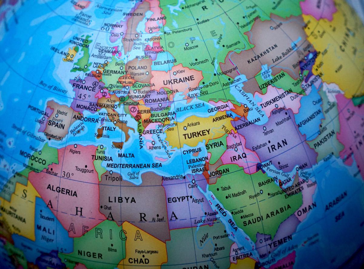 Bildet Europa Kart Kloden Verden Jord Kartene Kloden