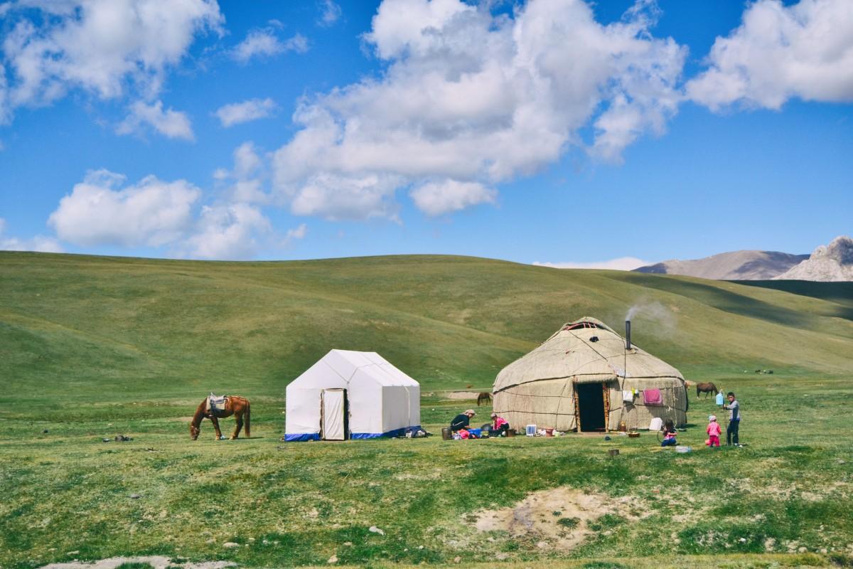 landscape grass mountain cloud sky field & Free Images : field hut dirt camping tent yurt rural area ...