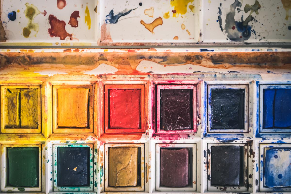 1068a1fe5b művészet művészeti anyagok bezár szín színes piszkos rendetlenség festék  festmény téglalapok vibráló fal vízfesték