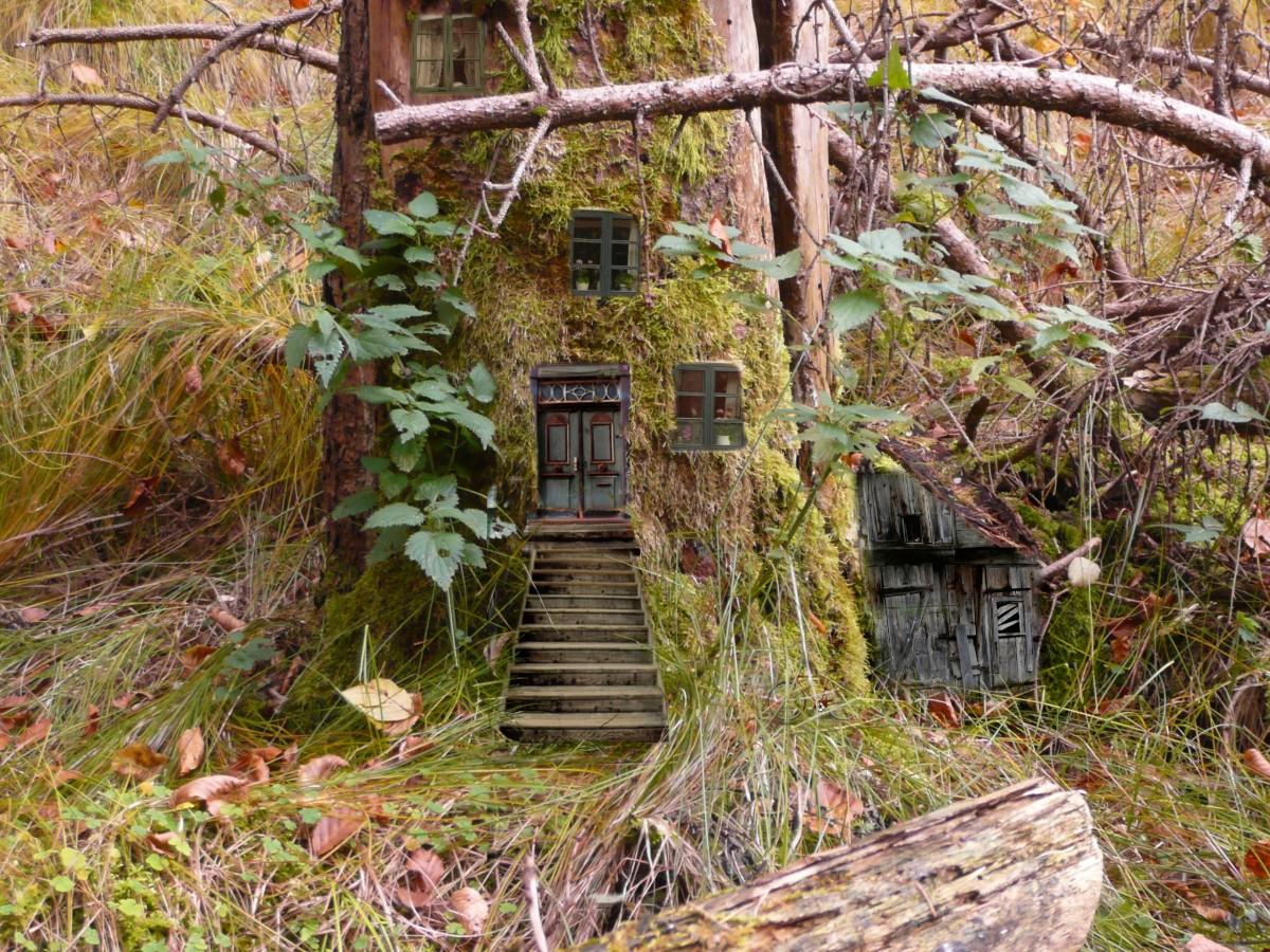 tree, forest, trail, flower, hut, jungle, cottage, autumn, garden, woodland, habitat, yard, fairy tales, rural area, fairies, elves, feenhaus, outdoor structure, feenwohnung, wood elves
