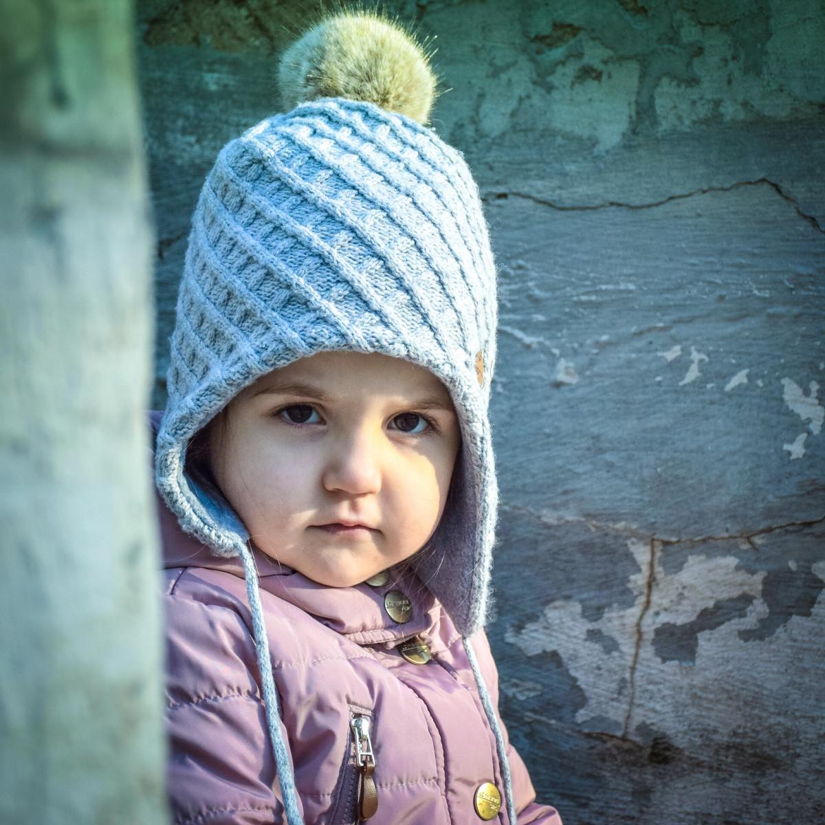 Вязаные шапки на детях фото