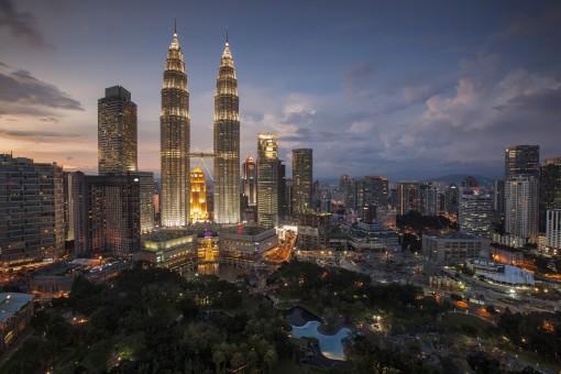 地平線,スカイライン,夜,見る,シティ,超高層ビル