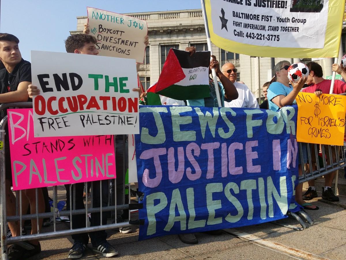 sign community banner education politics political demonstration protest israel protester