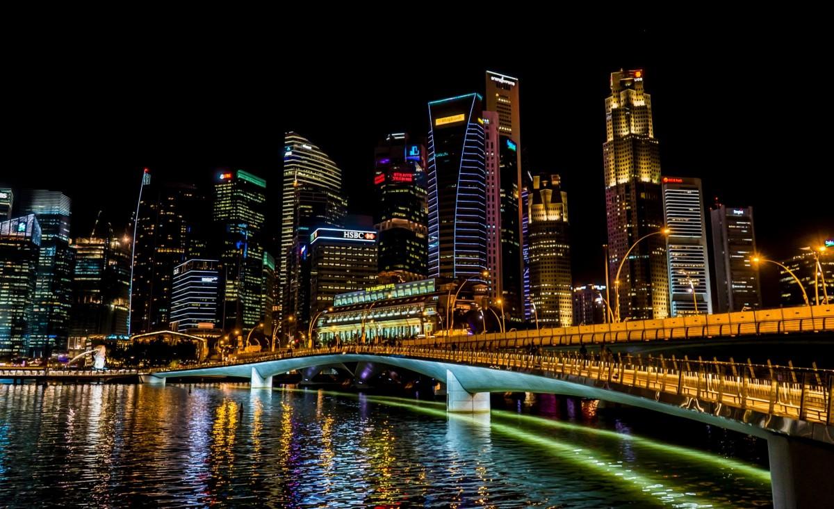 Free images road skyline traffic street night city skyscraper overpass cityscape - Singapur skyline pool ...