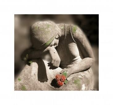 tree,woman,alone,statue,rose,sadness