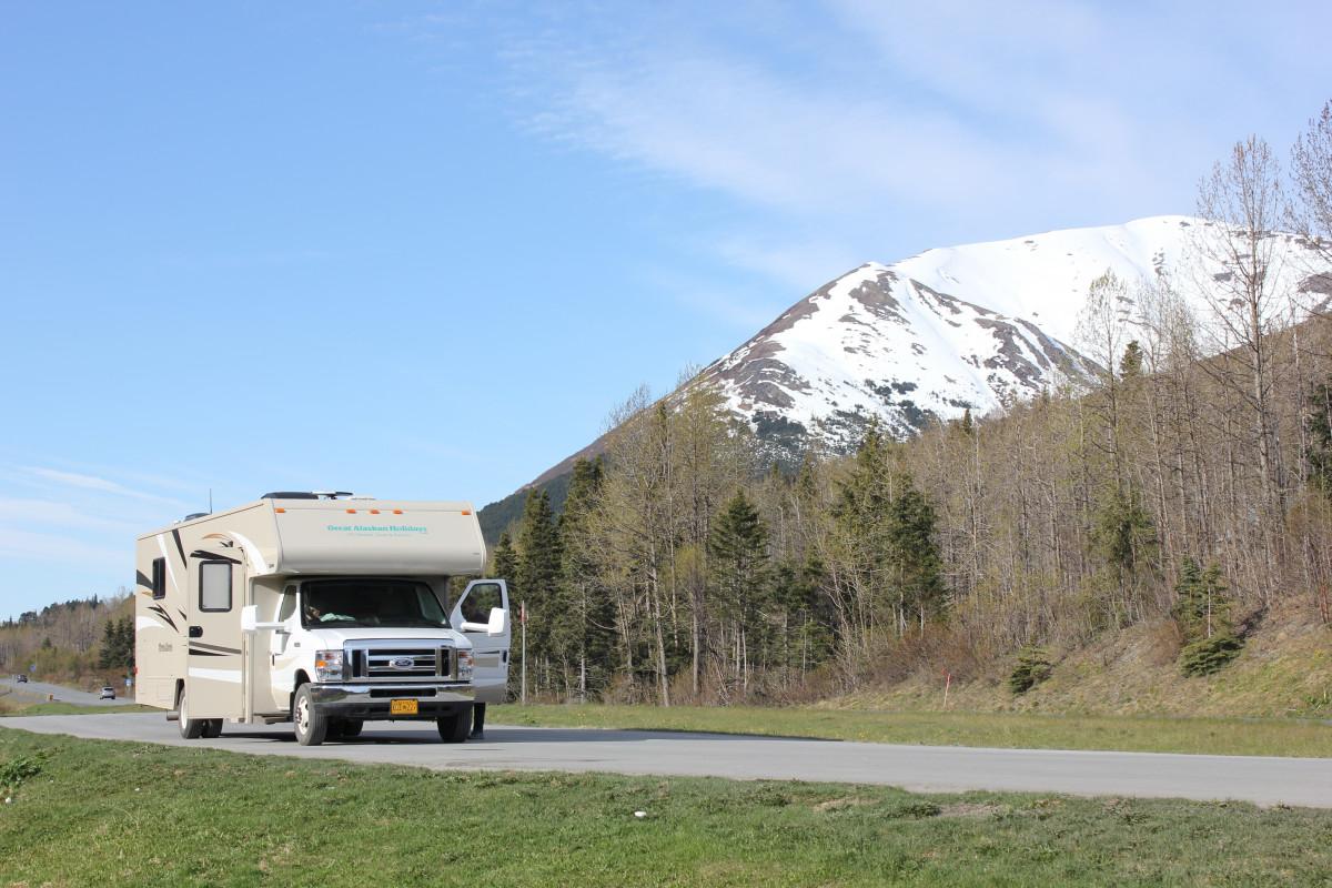 mountain car mountain range transport vehicle open road alaska ecosystem rv