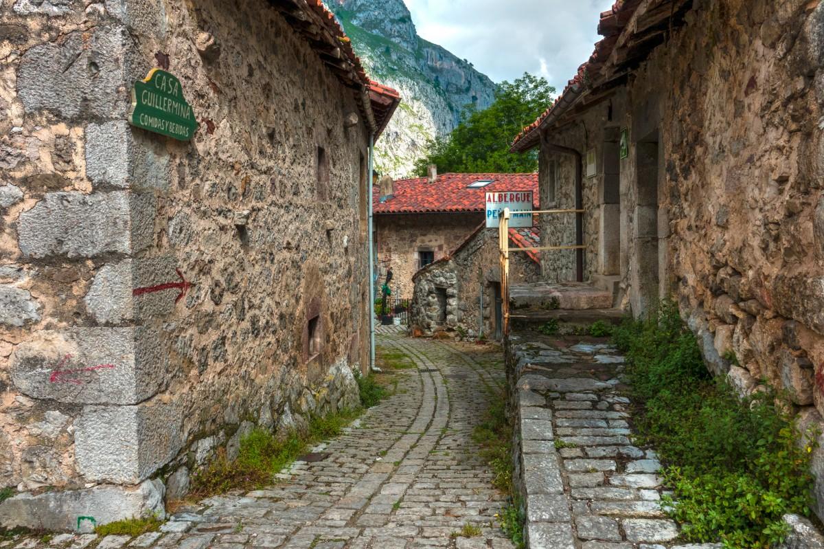 landscape, road, town, alley, wall, village