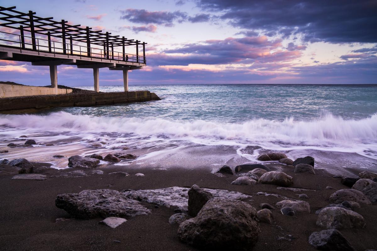 無料画像 4kの壁紙 ビーチ 夜明け ドック 夕暮れ 地平線 桟橋