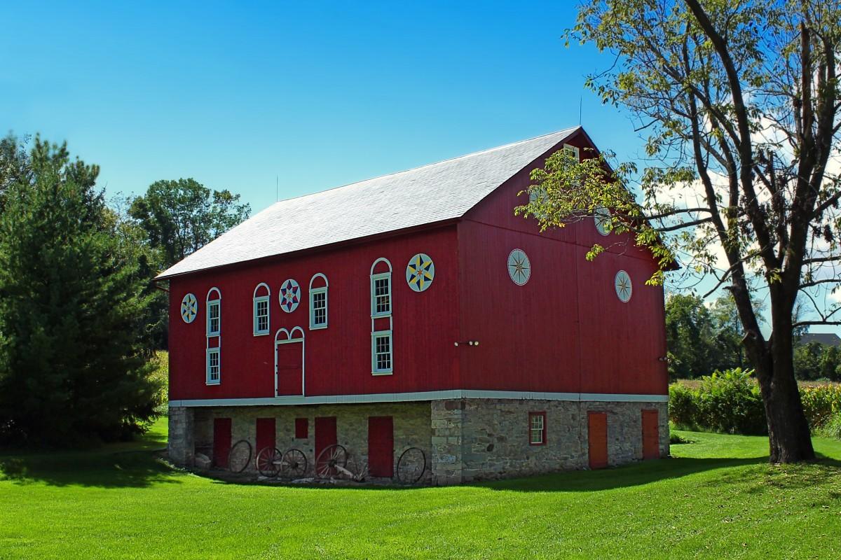 Farm, House, Building, Barn, Home, Summer
