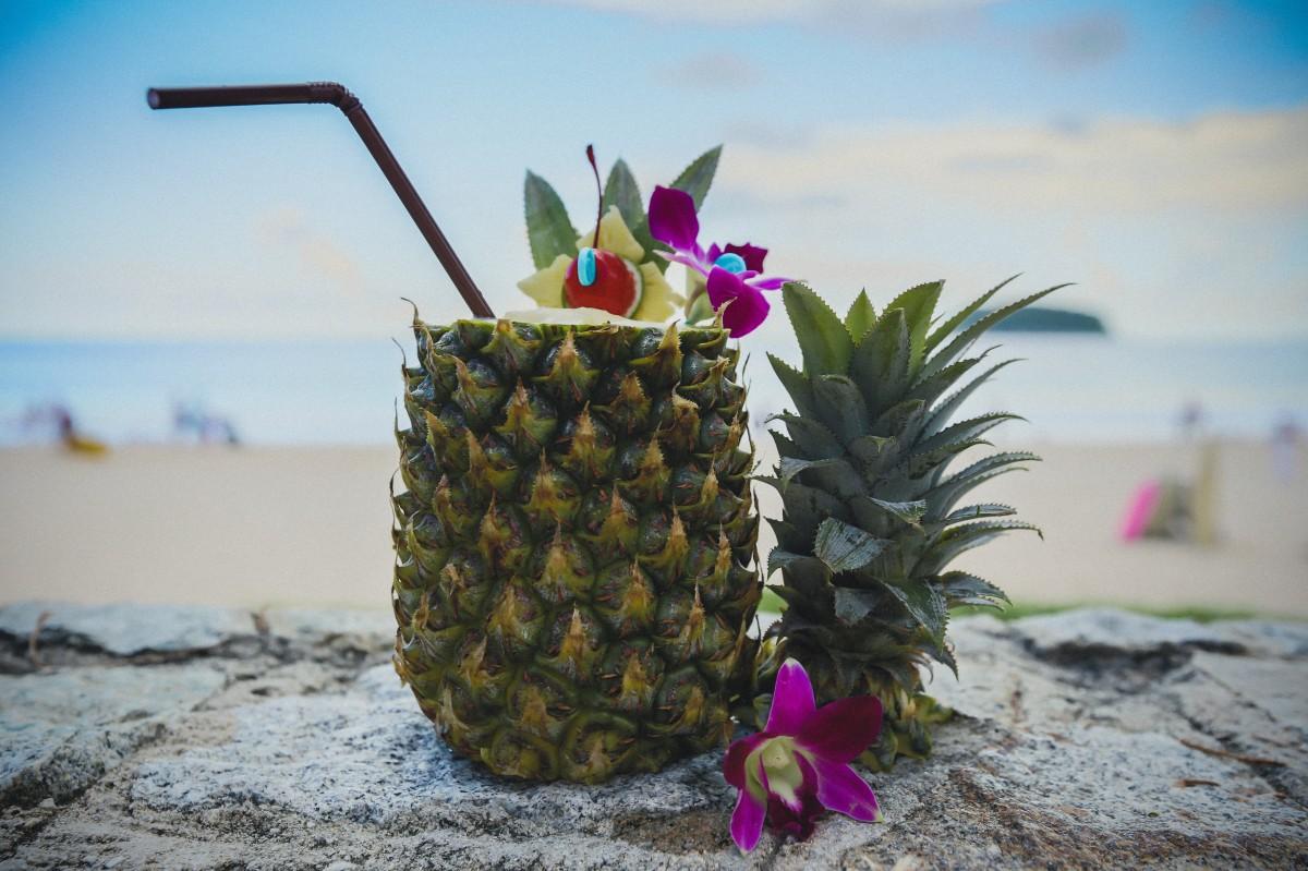 beach beverage drink fresh fruit phuket pineapple thailand tropical tropical fruit
